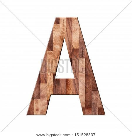 Wooden Parquet Alphabet Letter Symbol - A. Isolated On White Background
