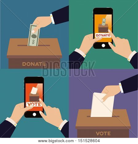 Vote and donate concept. With mobile phone and traditional way. Vector illustration flat concept.