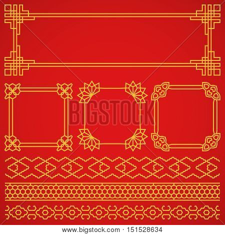 Vector asian, korean, chinese, japanese retro frames, borders set. Decoration pattern oriental and traditional illustration