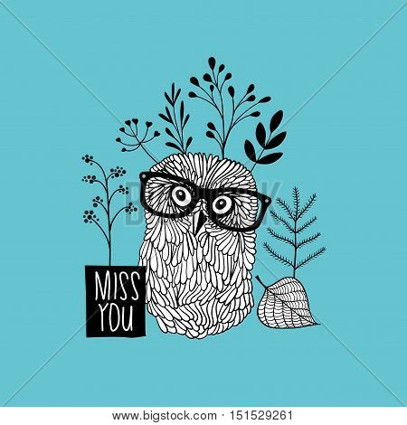 Print for the postcard with cute doodle owl. Vector black and white illustration.