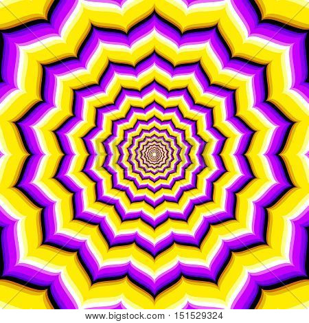 Abstract vector hypnotic optical illusion. Deepening and motion corridor endless illustration