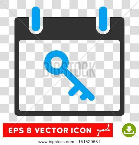 Vector Key Calendar Day EPS vector pictograph. Illustration style is flat iconic bicolor blue and gray symbol on a transparent background.