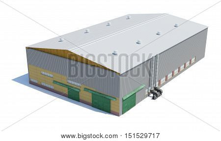 Hangar building. Isolated on white, 3D Illustration