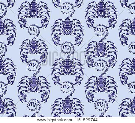 Repaint vector seamless pattern: ranks blue scorpions