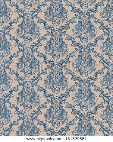 Repaint seamless pattern: wall Capricorn. Beige background