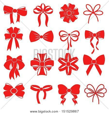 Red gift bow for celebration christmas and present to birthday. Illustration of vector silhouettes for decoration