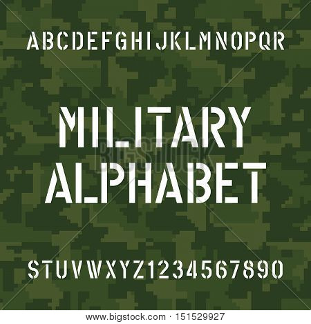 Stencil alphabet font. Type letters and numbers on pixel camo background. Vector typography for your design.