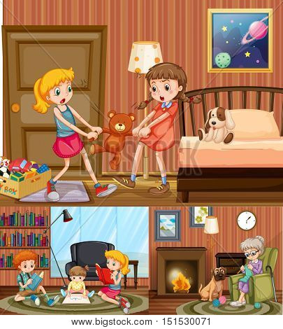 Kids and grandmother at home illustration