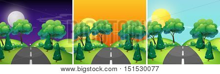 Three scenes of countryside at different time of day illustration
