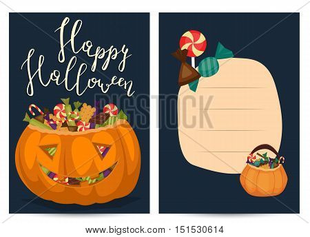 Halloween party poster with halloween elements and place for text. Cute Halloween pumpkin with bat. Cartoon Halloween pumpkin. Halloween design elements. Flyer on Halloween party night. Layout for halloween ad.