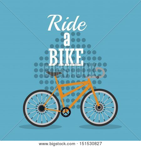 ride a bike emblem of bike and cycling related icons image vector illustration