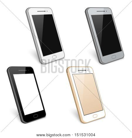 Mobile phone and smartphone, cell phone with touchscreen, vector collection illustration