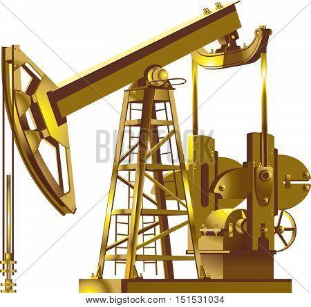 Detailed gold Oil pump, pumpjack vector illustrations