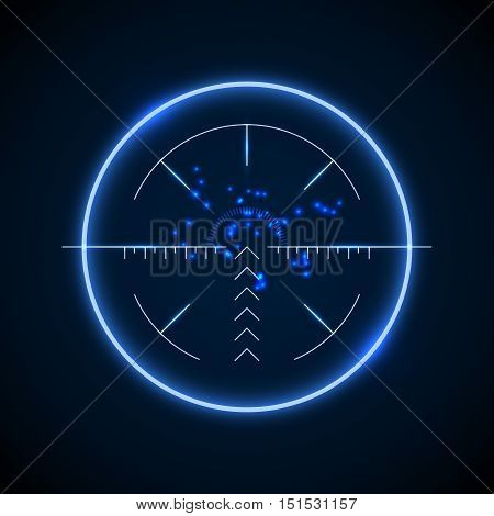 Accurate sniper scope, neon luminous target vector illustration. Military aiming and targeting optical