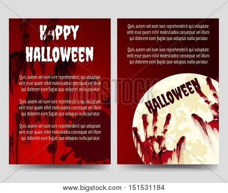 Halloween brochure flyer template with bloody handprints and moon. Vector illustration