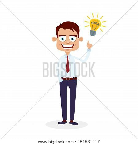 Business Idea Concept. Happy Office Manager Standing And Pointing To The Burning Light Bulb With The