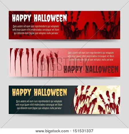 Happy halloween horizontal banners set with blood handprints vector