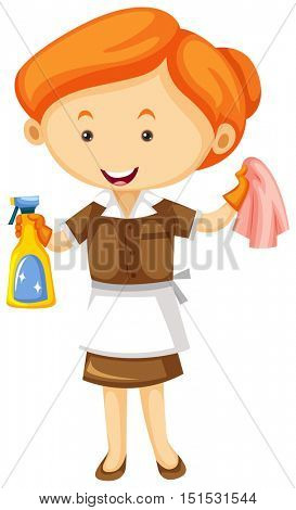 Maid with cleaning cloth and spray bottle illustration