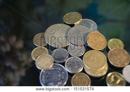 american dollar and cent coins macro view