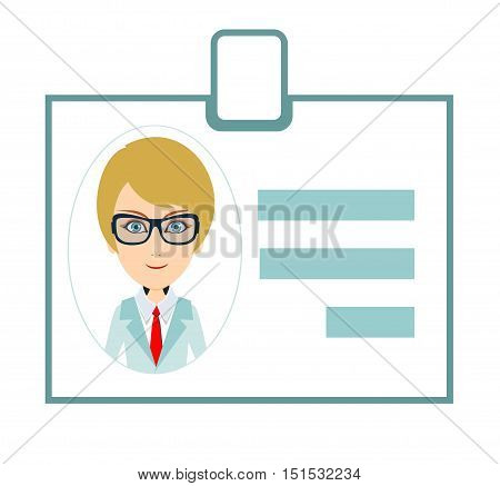 Identification card for woman. Personal badge. Stock vector illustration