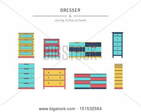 A set cabinets, dresser, drawn in a flat style. Cabinets furniture elements to create the design of interiors, apartments, bedrooms, closets