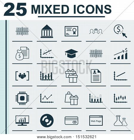Set Of 25 Universal Icons On Line Up, Curriculum Vitae, Sinus Graph And More Topics. Vector Icon Set