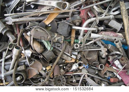 a pile of scrap metal isolated on white background