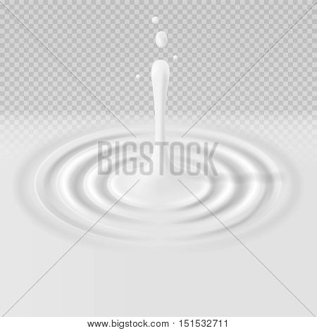 White falling drop with ripple surface vector illustration. Fresh milk concentric circle