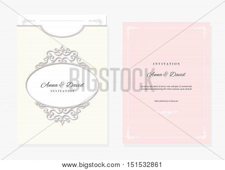 Wedding invitation and envelope template with laser cutting filigree oval frame. Pastel pink and ivory colors.