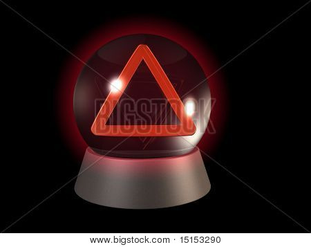 Future warning in glowing crystal ball