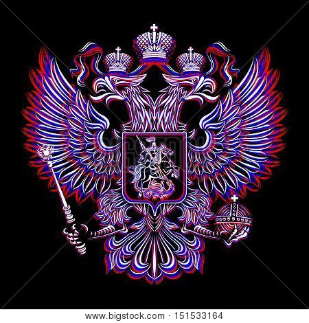 Vector coat of arms of the Russian Federation on a black background. The three colors of the national flag: red, blue, white.