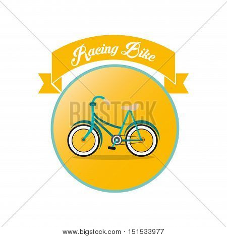racing bike challenge yourself emblem of bike and cycling related icons image vector illustration