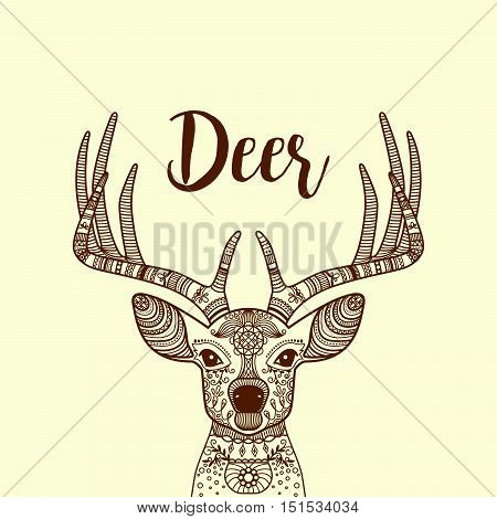 Brown color hand drawn horned deer head with floral ornament, vector illustration