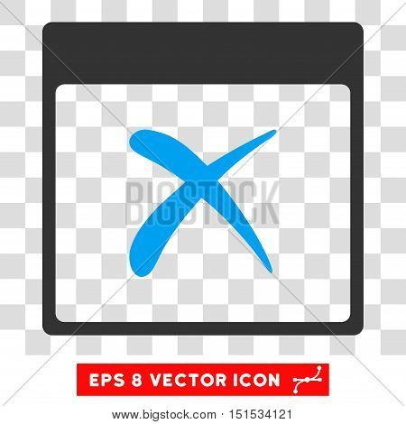 Vector Reject Calendar Page EPS vector pictogram. Illustration style is flat iconic bicolor blue and gray symbol on a transparent background.