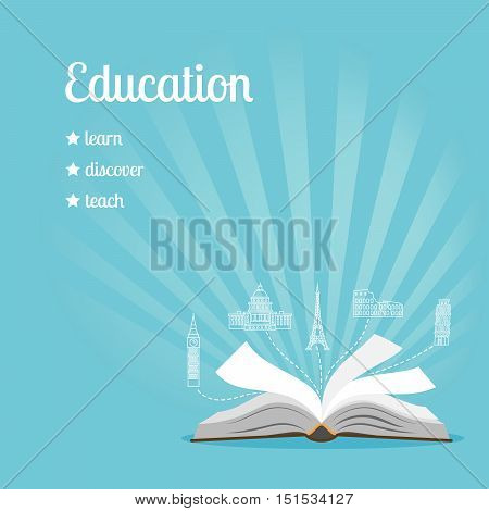 Education background with text learn, discover, teach vector illustration