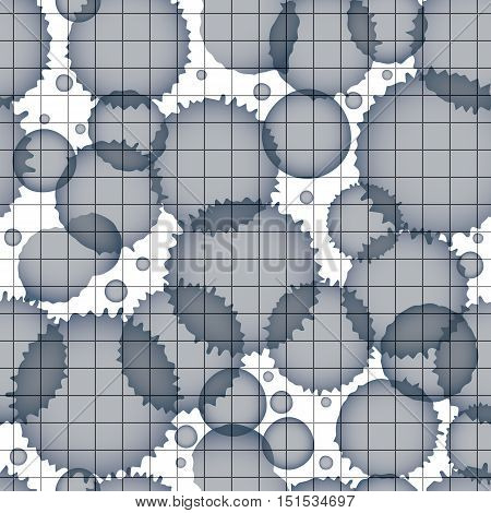 Vector grayscale acrylic abstract spotted endless grid backdrop brush painted seamless pattern graphic creative inky illustration scanned and traced.