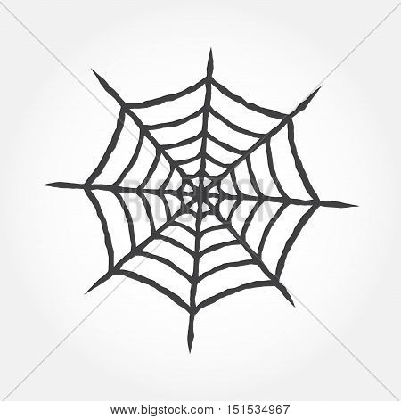 Halloween cobweb outline icon. Spiderweb isolated on white background. For web design, banner, flyer, mobile and application interface, also useful for infographics. Cobweb silhouette.- stock vector.