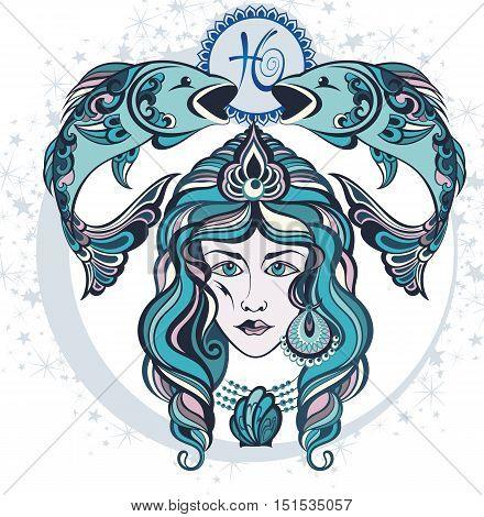 Decorative Zodiac sign Pisces for your design
