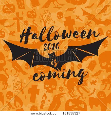 Halloween 2016 is coming. Vector Halloween retro badge. Concept for shirt or logo, print, stamp. Flying Bat. Halloween design. - stock vector.