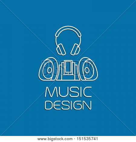 Music design with recorder and earphones thin line vector logo