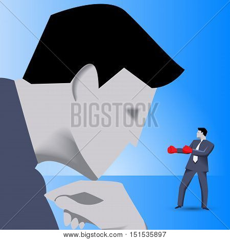 Corporate vs small business competition concept. Huge businessman looks with irony on brave small businessman in boxing gloves. Vector illustration. Use as template, logo, background or other design.