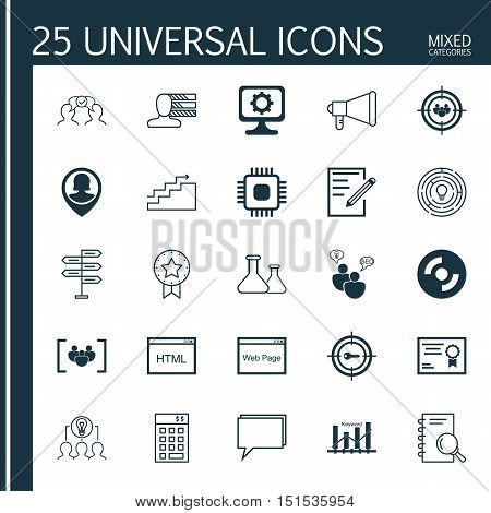 Set Of 25 Universal Icons On Chip, Keyword Optimisation, Analysis And More Topics. Vector Icon Set I