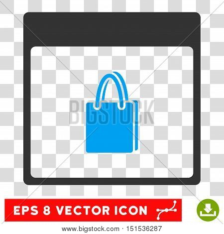 Vector Shopping Bag Calendar Page EPS vector pictogram. Illustration style is flat iconic bicolor blue and gray symbol on a transparent background.