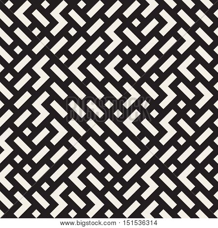 Vector Seamless Black And White Irregular Jumble Shapes Pattern. Abstract Geometric Background Design