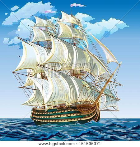 vector illustration of a medieval sailing ship. Spanish galleon on a calm sea