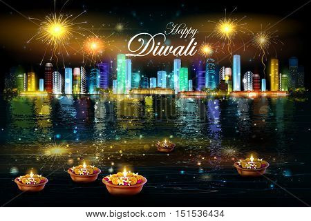 easy to edit vector illustration of floating diya with flower for Happy Diwali background