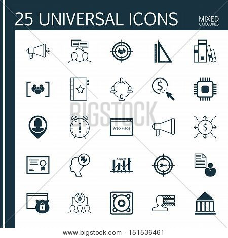 Set Of 25 Universal Icons On Collaboration, Security, Money And More Topics. Vector Icon Set Includi