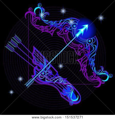 Neon signs of the Zodiac: Sagittarius. A series of signs of the zodiac. Made in neon art. On a black background constellations.