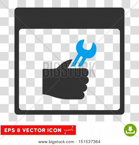 Vector Spanner Service Hand Calendar Page EPS vector pictograph. Illustration style is flat iconic bicolor blue and gray symbol on a transparent background.