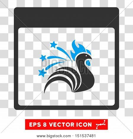 Vector Sparkle Rooster Calendar Page EPS vector icon. Illustration style is flat iconic bicolor blue and gray symbol on a transparent background.